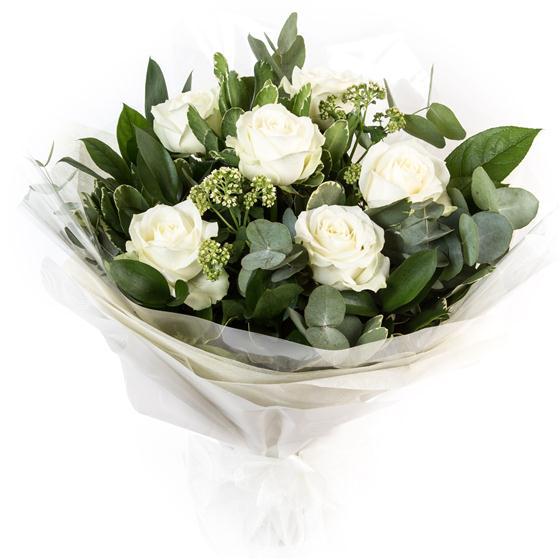Six long stemmed white roses jackies florist dublin mightylinksfo